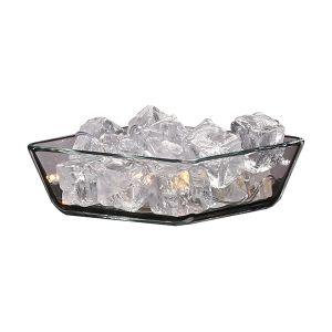 Glasschale mit Kunsteiswürfeln und Licht B15 cm
