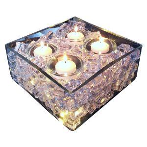 Glascube mit Kunsteis und Schwimmkerzen B25 cm
