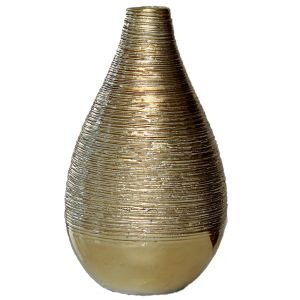Vase Gold gerillt H14,5 cm