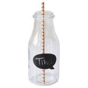 Milchflasche mit Trinkhalm