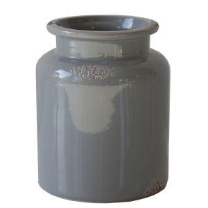 Vase Vintage Grau, Keramik H14 cm