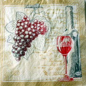 Motivserviette Wein B33 cm