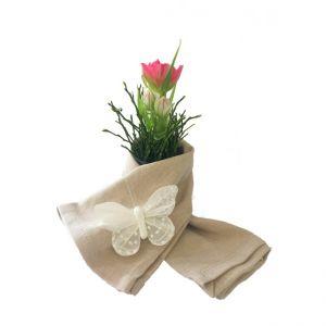 Serviette Stoff Beige mit Vase und Schmetterling
