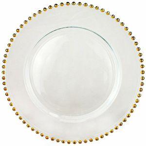 Platzteller Glas mit Bördelring Gold D32 cm