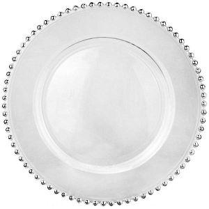 Platzteller Glas mit Bördelring Silber D32 cm