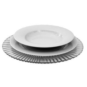 Tellerset aus Platzteller Kristall, Menüteller, Suppenteller