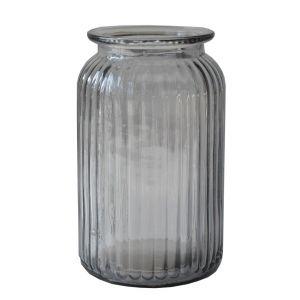 Vase gerippt Anthrazit Glas H18 x D10 cm