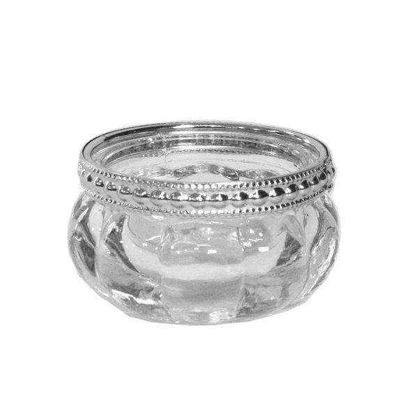 Teelichterhalter mit Silberrand H3 cm