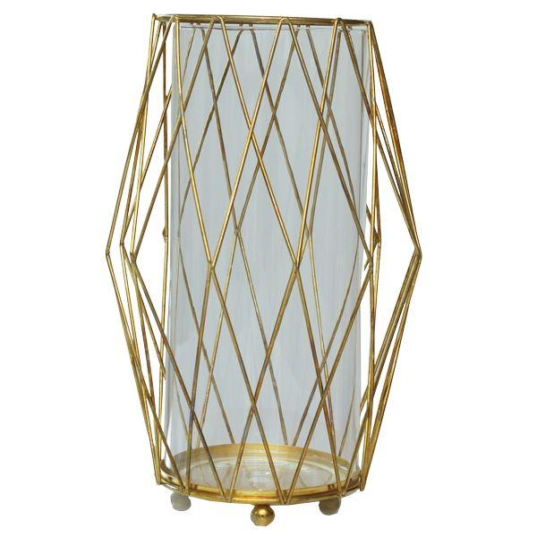 Windlicht Rhombe Gold H26 cm