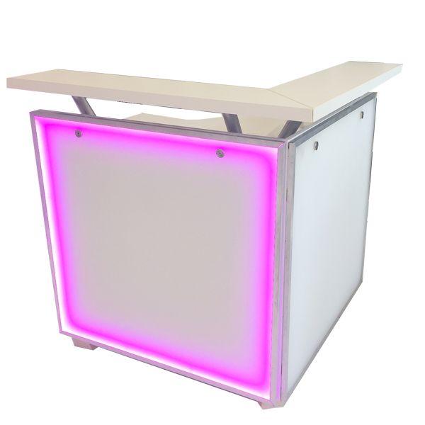 Bar mit Acryl-Glas-Front und LED-Beleuchtung Eckteil B100 cm