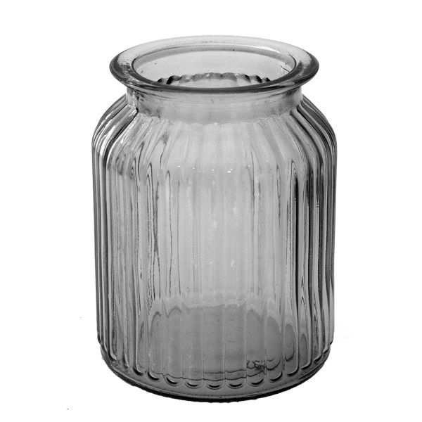 Vase gerippt Anthrazit, Glas H14 x D10 cm