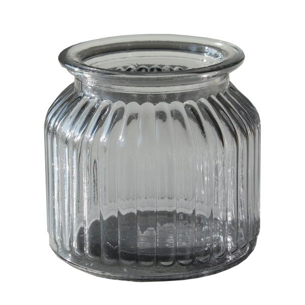 Vase gerippt Anthrazit Glas H10 x D10 cm
